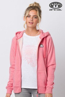 Sweat à capuche Animal Roo rose zippé