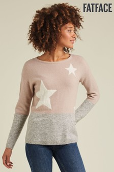 FatFace Natural Star Colour Block Jumper
