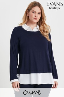 Evans Curve Navy 2-In-1 Top