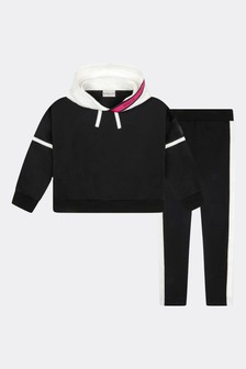 Moncler Enfant Girls Black Cotton Tracksuit