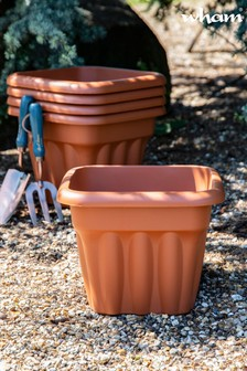 Set of 5 Vista 33cm Square Garden Planters by Wham