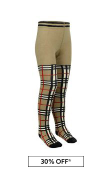 Girls Beige Vintage Check Cotton Tights