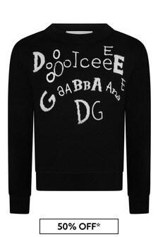 Dolce & Gabbana Kids Girls Black Cotton Logo Jumper