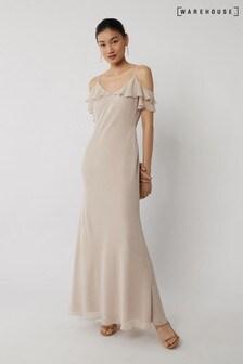 Warehouse Mink Cold Shoulder Bridesmaid Dress