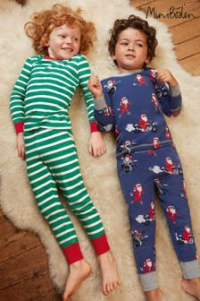 Boden Navy Long Pyjamas Two Pack