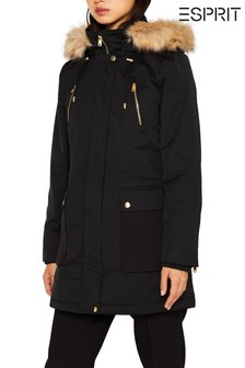 Esprit Black Padded Coat With Knitted Details