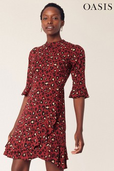 Oasis Red Belinda Leopard Dress