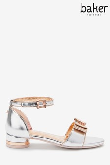 Baker By Ted Baker Silver Rose Gold Bow Sandals