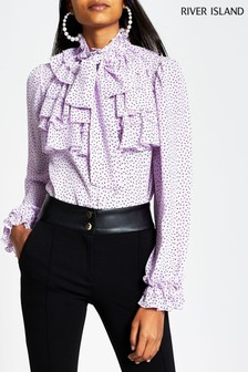 River Island Purple Print Ruffle Blouse