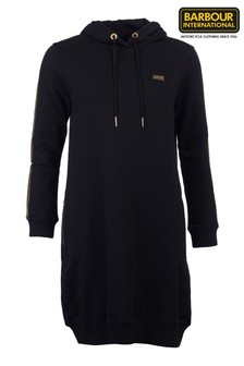 Barbour® International Black Taped Logo Homestretch Hoody Dress