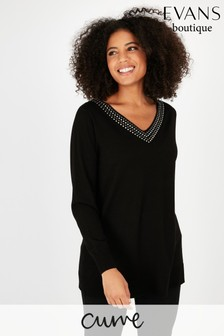 Evans Curve Ring Stud Embellished V-Neck Blouse