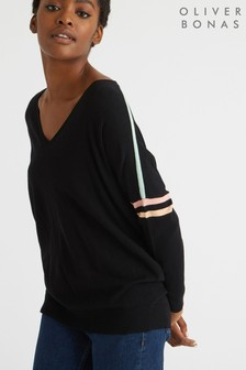 Oliver Bonas Black Stripe Sleeve V-Neck Knitted Jumper
