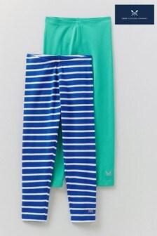 Crew Clothing Company Green Plain & Stripe Leggings 2 Pack