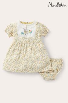 Boden Yellow Bunny Applique Collar Dress