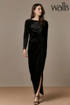 Wallis Black Velvet Wrap Maxi Dress