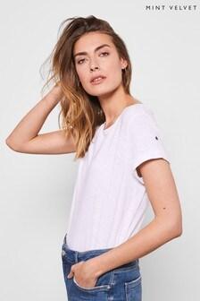 Mint Velvet White Stud Cotton Star T-Shirt