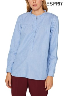 Esprit Blue Tunic Blouse Top With Ruffled Collar