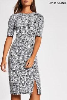 River Island Mono Toffee Button Dress