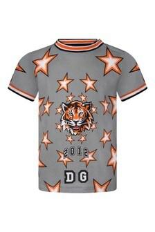 Baby Boys Grey Cotton Tiger Print T-Shirt