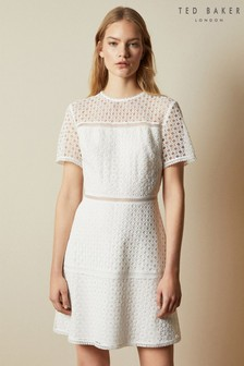 Ted Baker Cream Allara Short Sleeved Lace Mini Dress