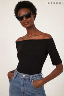 Warehouse Black Short Sleeve Bardot Top