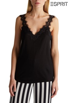 Esprit Black Sleeveless V-Neck Lace Top