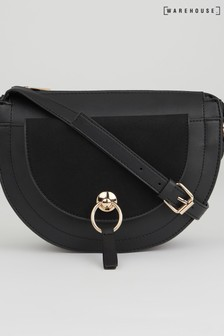 Warehouse Black Suede Half Moon Cross Body Bag