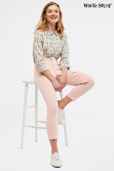 White Stuff Pink Straight Crop Jeans