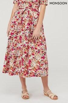 Monsoon Cream Julissa Print Skirt