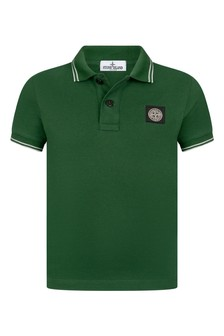 Boys Green Cotton Pique Polo Top