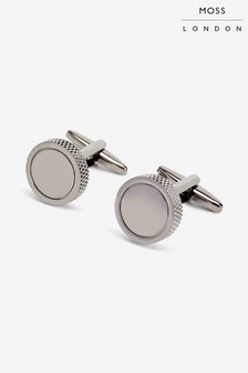 Moss London Gunmetal Circle With Textured Edge Cufflinks