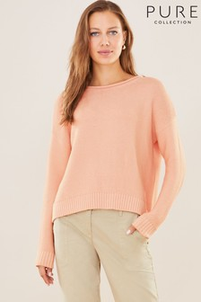 Pure Collection Pink Cotton Dipped Hem Textured Sweater