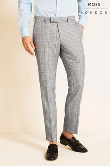 Moss London Slim Fit ECO Black/White Sky Check Trousers