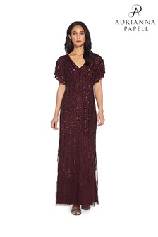 Adrianna Papell Red Flutter Sleeve Beaded Gown