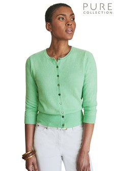 Pure Collection Green Cashmere Cropped Cardigan