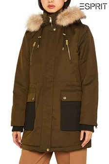 Esprit Green Padded Coat With Knitted Details