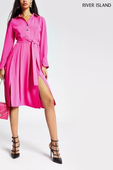 River Island Pink Tie Dye Rupert Shirt Dress