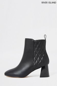 River Island Black Quilted Block Heel Boots