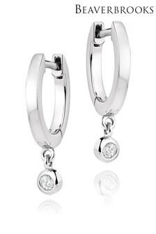 Beaverbrooks Sterling Silver Cubic Zirconia Drop Hoop Earrings
