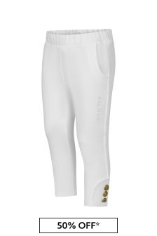 Balmain Baby Girls White Cotton Trousers