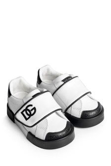 Boys White & Black Leather Trainers