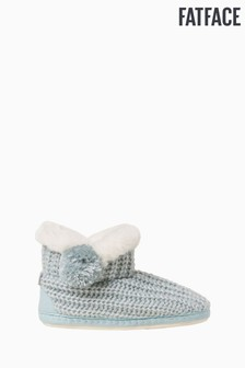 FatFace Green Nina Knitted Pom Boots