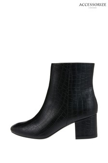 Accessorize Black Moc Croc Sleek Boots