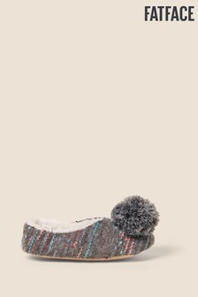 FatFace Grey Posy Pom Slippers