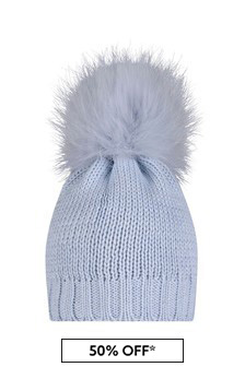 Boys Blue Wool Hat With Faux Fur Pom Pom