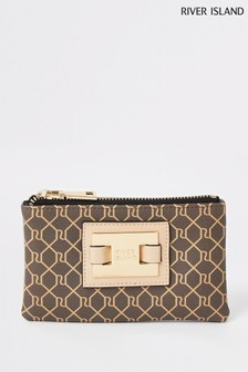 River Island Brown Check Monogram Pouch Purse