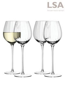 Set of 4 Aurelia Optic Wine Glasses by LSA International