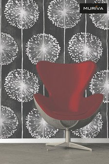 Muriva Black Dandelion Wallpaper