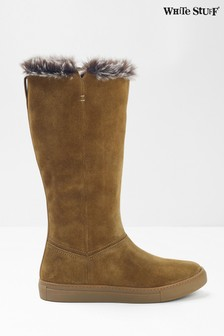 White Stuff Tan Ivy Faux Fur Mid High Boots