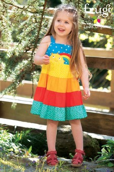 Frugi GOTS Organic Tiered Rainbow And Sun Dress
